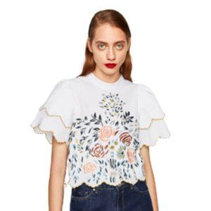 White Zara Floral Embroidered Top